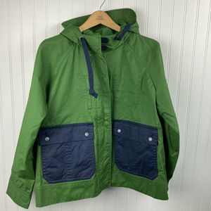 NWT JCREW Colorblock waxed cotton jacket L G7492